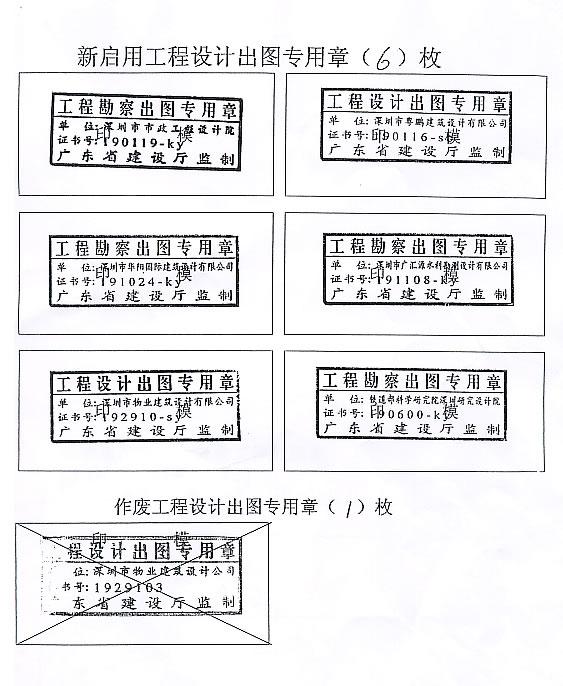 关于启用深圳市市政工程设计院等单位工程设计勘察出
