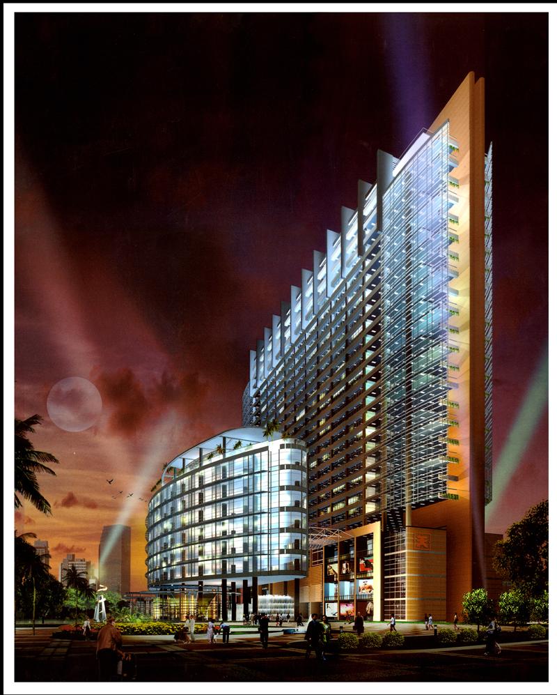 天安数码时代大厦 位于天安数码城北端入口,包括26层的办公主楼、8层的办公副楼及4层的商业裙楼。设计中把主、副楼作45布置,形式与周边建筑及道路的戏剧性关系,巧妙地体现了作为园区入口和标志性建筑的特殊身份,同时充分利用了用地东侧的高尔夫球场及城市中心区景观,提升物业的价值。副楼首层架空,与中心绿化通廊连成休闲广场,点缀以具有雕塑感的洒吧、亭榭,并与东边高尔夫球场形成视觉联系。办公楼员工及过往行人可在此行、停、听、聚、休,从而创造出一个宜人、富于生命力、具有文化内涵的新办公环境。建筑设计从平、立、剖面到细部
