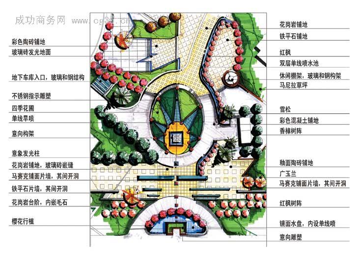 某休閑廣場規劃設計總平面圖 高清圖片