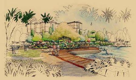 手绘效果图; 蓝湖郡世界级湖屿豪宅首度公开解读;; 并通过各景观节点