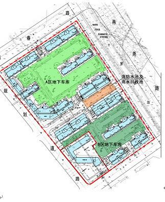项目结合规划设计要求,充分利用地下空间设置停车库,雨水机房,配电房
