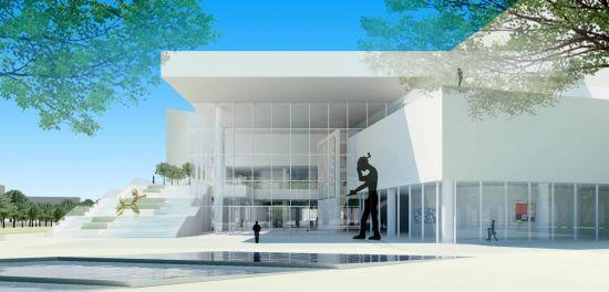 """槇文彦的作品大多植根于风土并具有文化品质,凝聚东西方双重文化的精神,他也一向被冠以""""城市设计者""""的称号,始终坚持把建筑作为城市环境的构成要素,注重环境整体效应,在建筑设计中运用城市设计的手法。文化艺术中心的设计方案正是对其设计风格和理念的最有力的诠释。"""