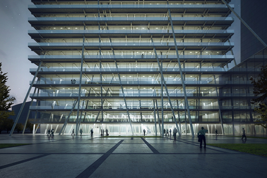 """郑州的高层建筑,采用新的结构形式,减少建筑的重量,""""它很轻盈,看上去"""