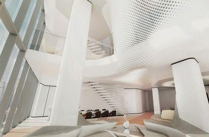 迪拜塔高达688米成世界最高.  扎哈完成了迪拜opus办公楼室内设计.