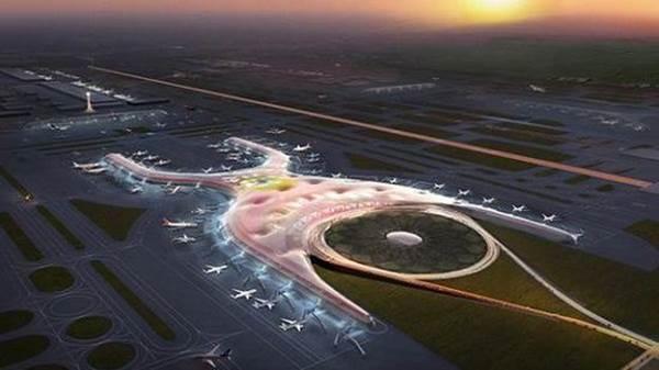 """这一号称""""世界上规模最大的机场之一""""的飞机场横亘于55."""