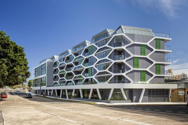 悉尼遍布六边形元素公寓建筑设计