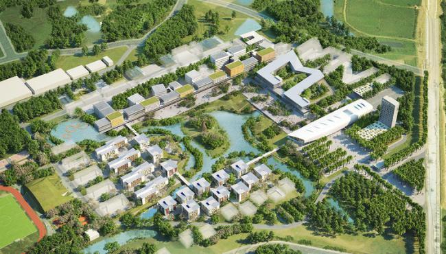 法国AS建筑工作室和VHA建筑事务所日前公布了他们在越南进行的城市规划中河内科技大学(USTH) 新校区建筑的设计方案。该项目位于河内市以东3 0公里的地方,新校区的设计是按照一种新模式大学进行,并且将在行政,教学,科研,住房,学生活动,服务部门和基础设施方面安装各种功能设施。 块场地所处的位置正好环绕并横跨一个湖泊,该项目建设的一个目的就是为研究人员和学生提供一个能够研究景观构造的生活空间。 这里的水和热带地区的建筑以及特定的技术结合在一起,将会体现出河内科技大学的独特个性,并且是越南在可持续发展