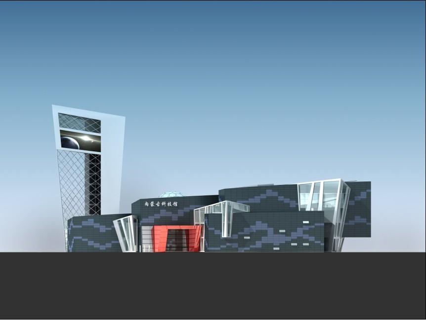 设计理念: 方案的设计理念追求将世界眼光、时代特征、内蒙特色、创新发展完美的统一于建筑,使新馆成为呼和浩特市新的地标建筑。 内蒙古科技馆新馆,将成为呼和浩特孕育科学人才的新基地,了解自然和科技的新领地,展现内蒙古少数名族创新精神和科学技术成就的新天地。在此基础上,我们提出了探索之路这一设计理念。 探索之路,是通向未来科技之路,是了解自然科学之路,也是展现时代发展创新之路,更是提高生产力和生活水平之路。在设计手法上,旨在用变化的建筑形体表现鲜明的时代特征,用多样的建筑色彩表现独特的内蒙特色,用专业的节