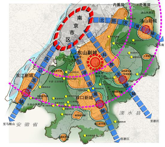 项目规模:江宁区全区2000平方公里 启动时间:2009年2月 委托单位:江宁区规划局 合作单位:南京大学 在都市区高可达性下,畅通城市化渠道、整合高效农业机遇、保障生态目标、促进兼业发展、提供合理成本下的优质公共服务与设施,促进江宁区真正形成城乡互补共赢的产业、空间、文化、生态及社会结构。 南京大都市近郊区 江宁北邻南京主城,东与句容市接壤,东南与溧水县毗连,西南与马鞍山市相邻,西邻长江与南京市浦口区隔江相望,从西、南、东三面环抱南京主城。 撤县设区以来,江宁区经济社会取得了持续快速增长,经济总量在南京