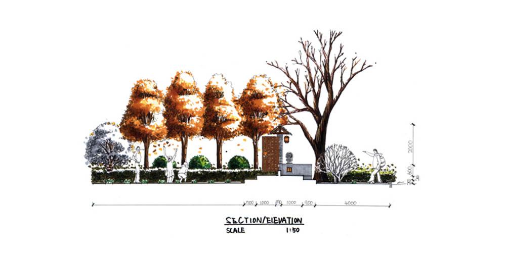 广场雕塑手绘立面图
