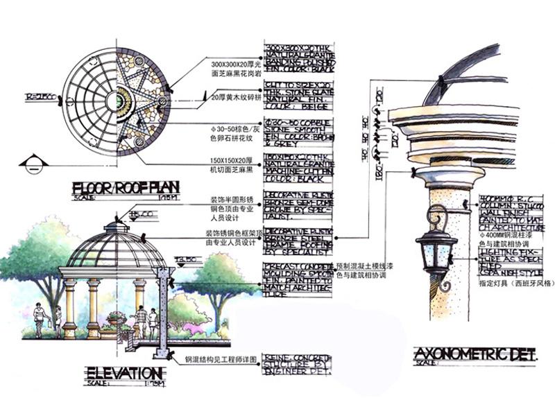 项目为山西海华名园的别墅区,属于低密度独栋别墅群。设计主要体现高贵与奢华,尽显主人尊贵的身份。 入口前广场由雕塑喷泉、西班牙式岗亭、拱墙、拱墙花钵群雕组成,与大体量的欧式别墅群相呼应。西班牙风格讲求与水的亲近,水景以水钵跌水出现,水池背景为砂岩海浪花雕花和白洞大理石,水池底部选用了西班牙式装饰样文的马赛克铺砌,华丽而富有张力。入口两边还设计了富有欧式风格的砂岩壁画(太阳神和月亮女神)。在地面铺装上,整个入口是一个整体的花瓣状拼花。 进入别墅区内,一个自然生态的假山溪流呈现在眼前。形态各异的假山石、富有特色