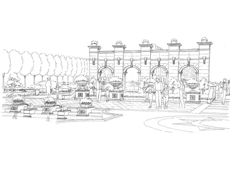 合肥蓝鼎海洋之星度假酒店是一所五星级豪华度假酒店,设计采用大量经典欧式元素,对称喷池、罗马柱、拱门水池以及大型马车雕塑喷泉等,从地面铺砖到植物种植,均采用欧洲风格,对称整齐大气,酒店大门采用大型亭状门口的形式,金碧辉煌的灯光照射,门口与公路间绿化隔离带,采用大型的欧式模纹花坛,所有这些景观元素大力凸显酒店的豪华尊贵感.