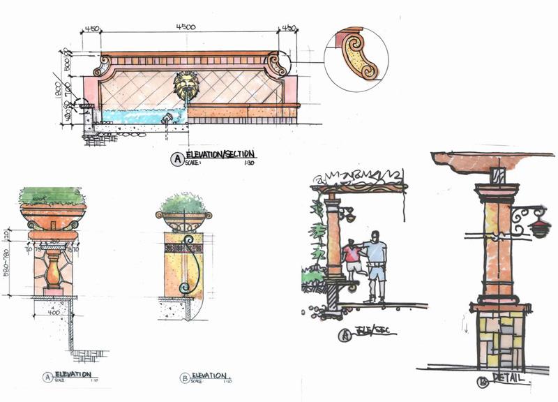 四角亭子手绘效果图亭子手绘效果图 园林亭子手绘效果图14;