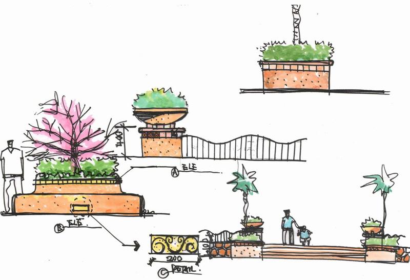 景观手绘广场扩初图