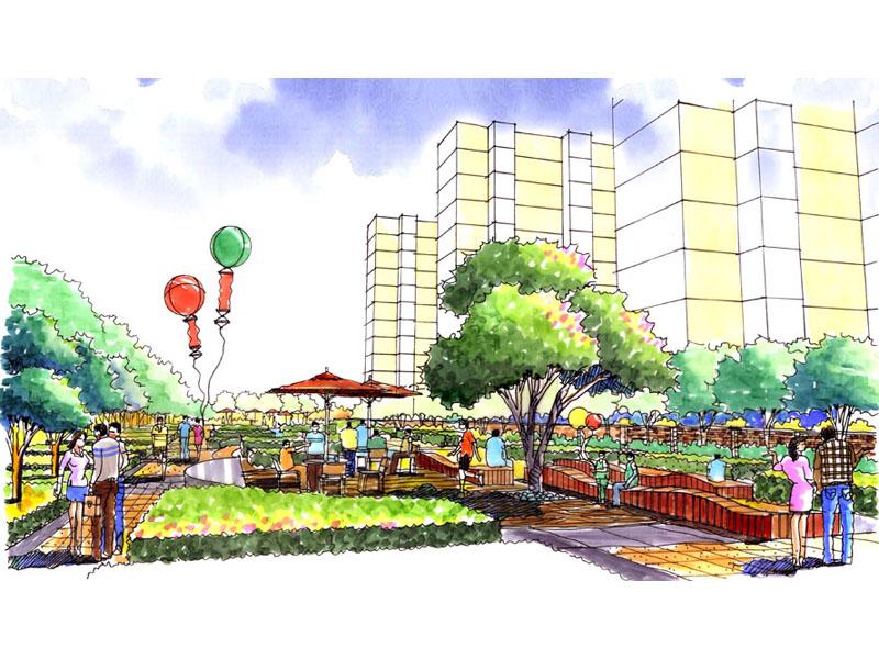 沈阳南郡林语景观设计;; 休闲广场设计效果图 健身休闲广场效果图