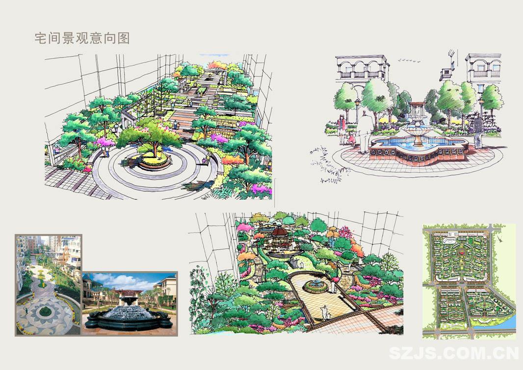 c14宅间景观意向图; 小区景观设计意向; 小区入口景观意向_理田设计