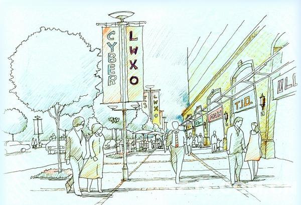 理田设计—07商业街景观效果图