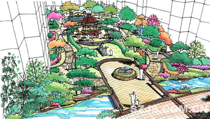 叠水喷泉手绘效果图_叠水景观手绘效果图,叠水手绘效果图图片; 新疆新