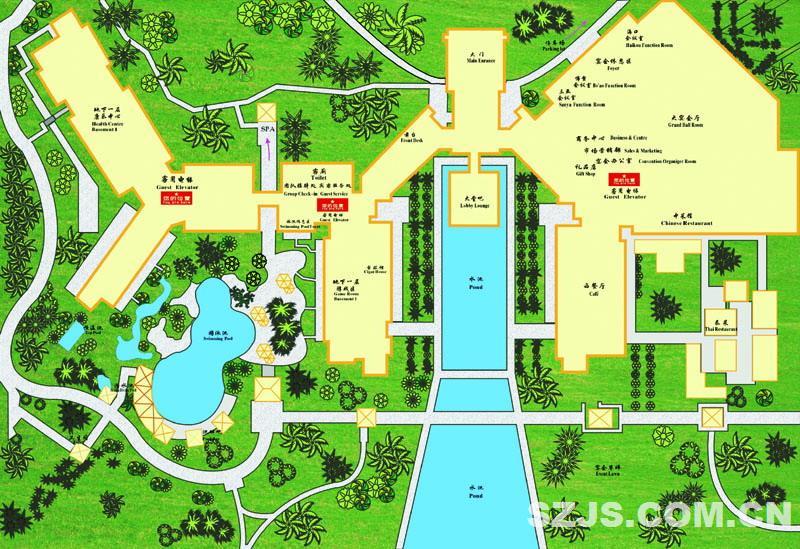 酒店平面图;; 三亚亚龙湾红树林酒店-4查看大图; 度假酒店~三亚亚龙