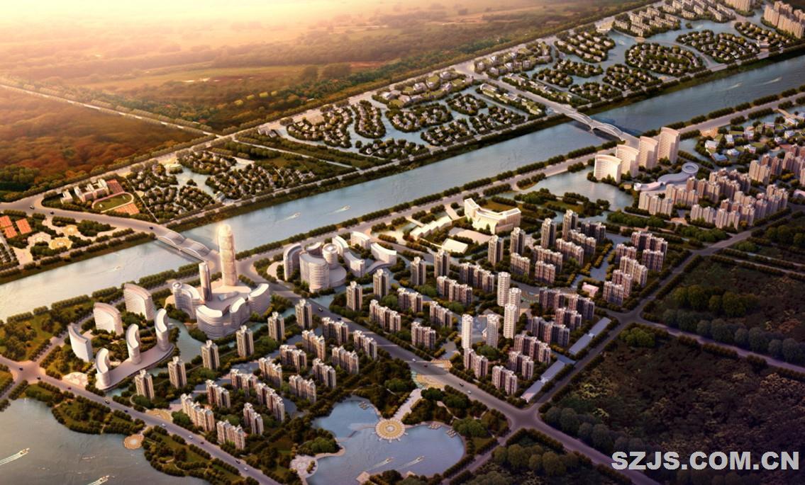 设计以荆州文化为核心,以运河水为元素 整合零售、餐饮、娱乐、办公、公寓、酒店、湿地公园等多元业态 形成独一无二的商业+娱乐+文化+旅游+生态的全新商业模式,真正实现集主题商业、时尚娱乐、健康生活三位一体的价值组合,以实际行动推动荆州城市的创新和发展。 该片区位于荆州古城以西。独特的区位优势、自然条件,结合该片区的用地情况及周边用地的功能,该片区总体布局结构可以概括为两轴、八区。 两轴全区由两轴贯穿整个社区,利用江汉渠打造一条贯穿南北的城市蓝色生态轴线,东西向的港南渠形成次要景观轴线作为生