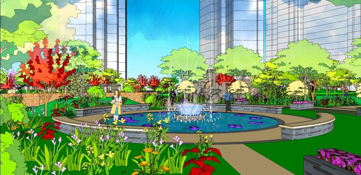 欧式庭院喷泉平面图
