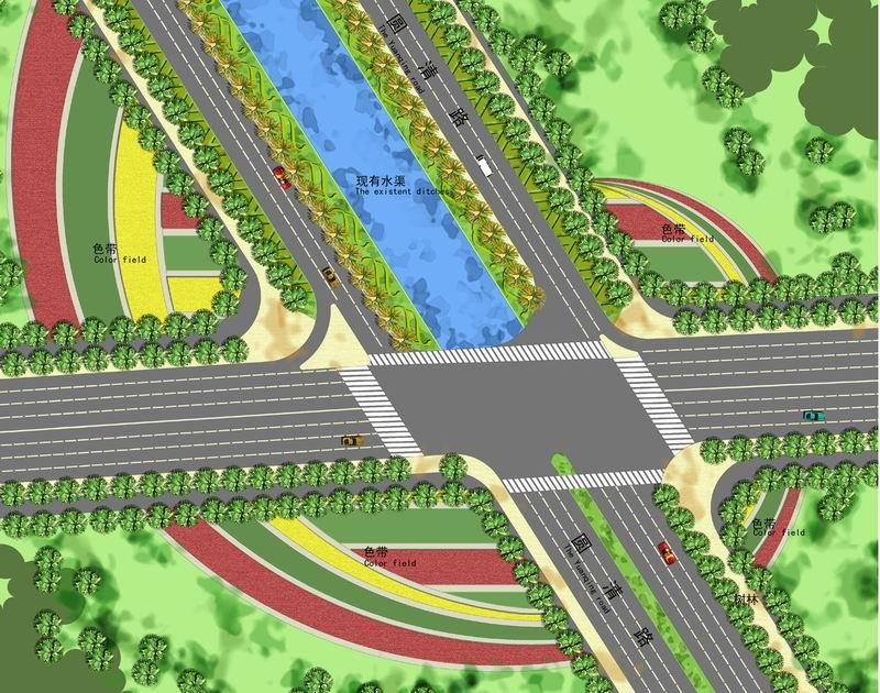 道路绿化节点平面图(1); 北京市海淀区北部地区北清路道路景观设计