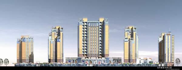一、设计简介 该项目为一高层商住小区,位于深圳市宝安区107国道东侧,总建筑面积202871平方米,其中商业建筑20791平方米,住宅125708平方米,其它56372平方米,容积率3.4,小区包括住宅、商场、幼儿园、会所、居委会、车库、人防、垃极站等建筑设计。 二、设计特点 1、 商业设计上采用商场与商铺的有机结合,引入架空平台的设计概念,使小区居住环境更完整、更安全、更怡人。且利用中间架空作停车场,为甲方减少投资。 2、 在住宅设计上,不单注重功能设计,更站在城市景观的角度,使小区建筑高低错落有序,而