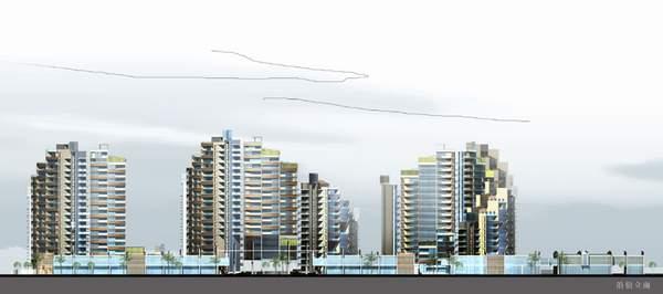 住宅小区景观马克笔手绘效果图