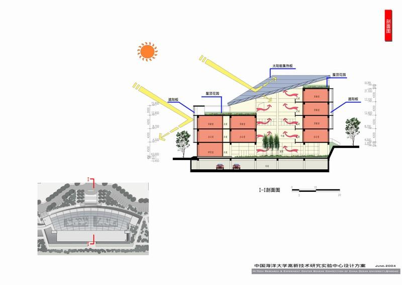 【设计简介&设计特点】 本工程位于青岛市香港东路中国海洋大学浮山校区。地块毗临学校南大门,东北侧为经贸学院教学楼。一期拟规划建设1栋5层研究实验中心,但在规划上把校前区进行了整体规划。新的实验中心的设计目标是提升海大校前区的整体外部空间环境品质,并在香港路沿线充分展示海洋大学的独特建筑风格,创造高科技校园特色街景立面。 运用多种天然材料和工业材料来体现出高校严谨稳重、创新技术的取向,花岗石为青岛当地产石材,体现坚固和稳定,玻璃网架覆盖的中庭给人一种明亮通透的室内空间感觉,同时组合了太阳能发电模块,可为实验